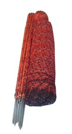 Siatka elektryczna dla drobiu 50m 112cm, pomarańczowa pojedyńczy szpic