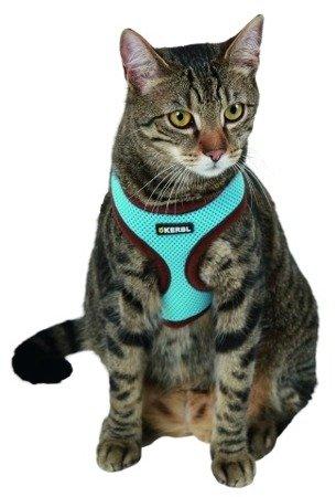 Szelki z lamówką + smycz 120cm dla kota Niebieskie
